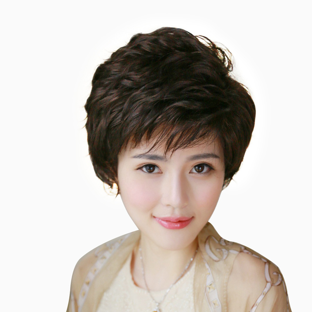 Quinquagenarian wifing stubbiness female mother day gift women's wig fluffy wig stubbiness