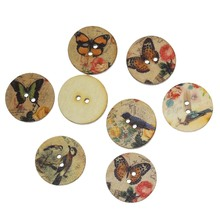 """Buy DoreenBeads Wood Sewing Button Scrapbooking Round Random Two Holes Butterfly & Bird Pattern 15.0mm (5/8"""") Dia,200 PCs for $3.46 in AliExpress store"""