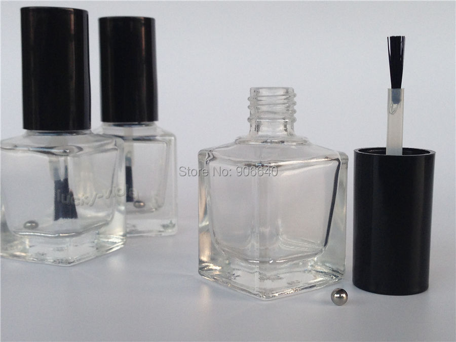 New 10pcs 15ml Empty Nail Polish Bottle Clear Glass With Agitator Mixing Balls(China (Mainland))