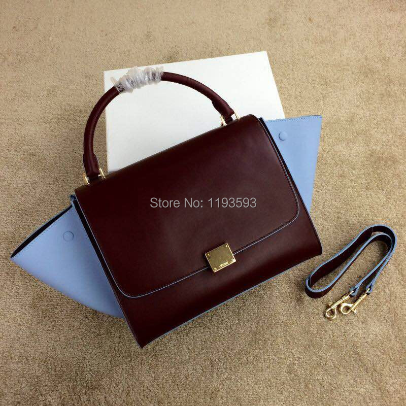 2015 new lady's   mixed color line Trapeze handbag,genuine leather,original quality cowhide,lambskin lining,good price(China (Mainland))