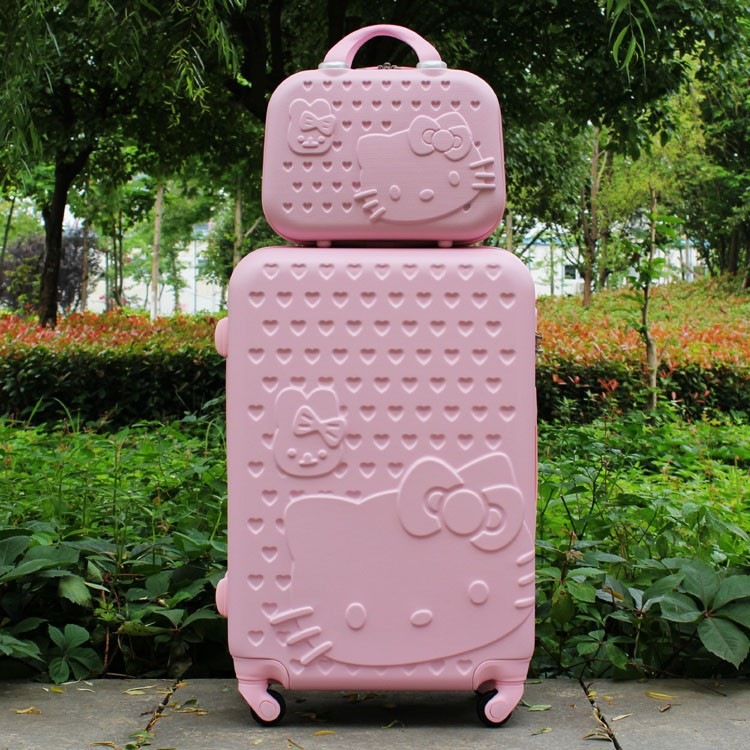 "20 inch""24 inch"" inch Hello Kitty Rolling luggage travel bags,Boarding Suitcase sets,Women Carry-Ons,Colorful ABS Wheels Trolley Box case"""