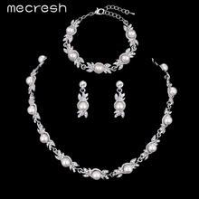 Mecresh 3 Шт./компл. Имитация Перл Свадебные Украшения Устанавливает Свадебный Ожерелье Наборы Обручальное Ювелирные Изделия Аксессуары MTL444 + MSL197(China (Mainland))