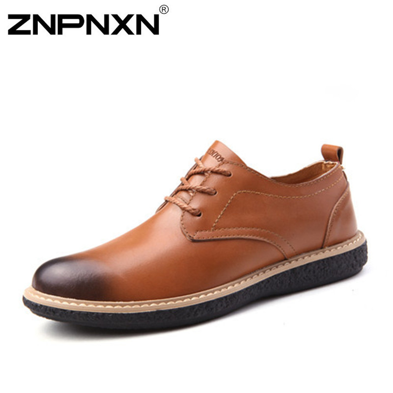 New 2015 Men Leather Shoes Casual Genuine Leather Shoes Men Oxford Fashion Lace Up Dress Shoes Outdoor Flat Work Shoe Size 38-43