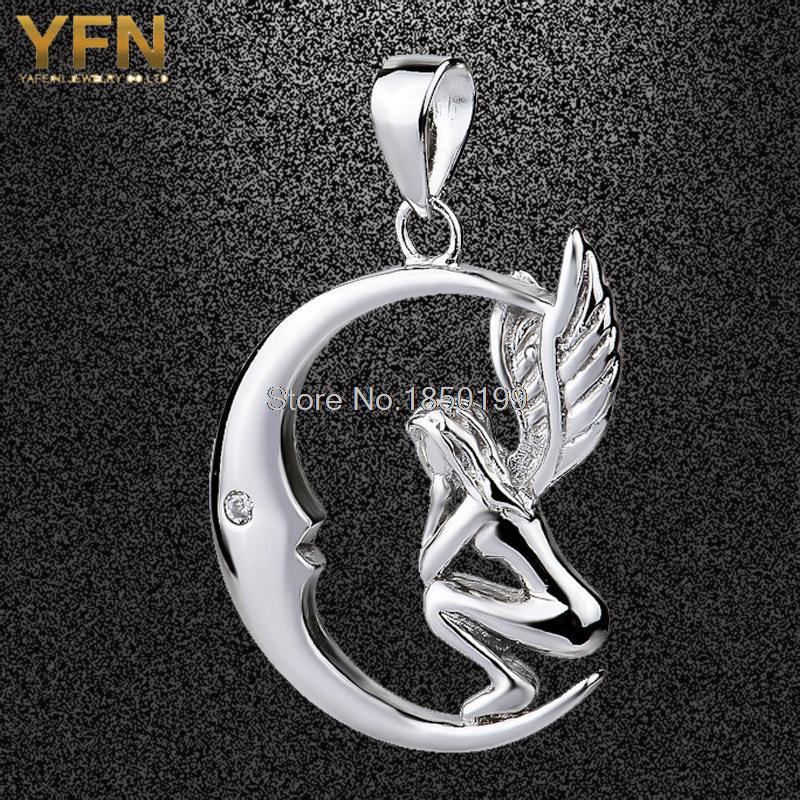 Wholesale GND0556 Hot Sale Jewelry Exquisite Angel Pendant 27*18mm Fashion 925 Sterling Silver Moon Pendant Charms For Women(China (Mainland))