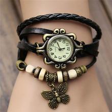 Lackingone 2015hot sale fashion relogio feminino leather women Vintage Hand Knit bracelet watch butterfly pendant quartz