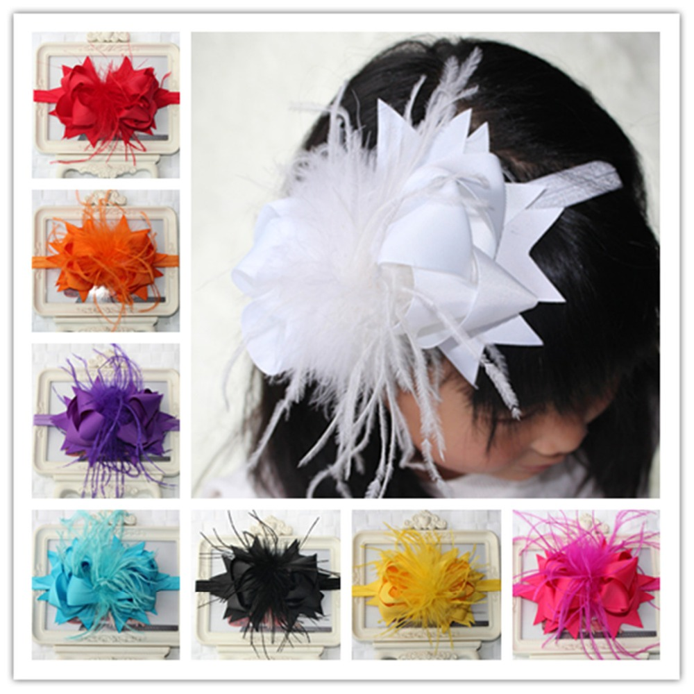6 inch satin ribbon flower baby girl kids feather hair bows head band headband decorations ornaments accessories tiara headdress(China (Mainland))