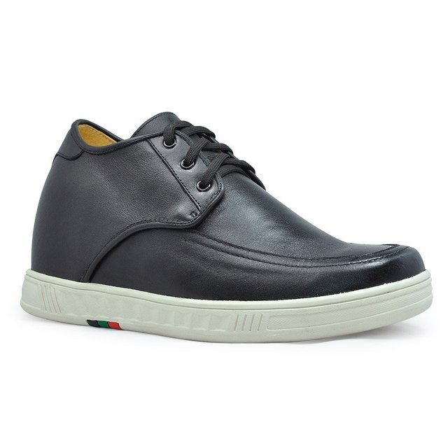9091D - men's black elevator casual shoes +handmade +genuine leather +100% quality guaranteed   Free shipping