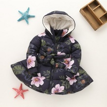 Buy spring autumn Girls Hooded Coat Printed Flowers Winter Coat Girls Kids Padded Jacket Casual Children's Outerwear 2-10 yrs for $27.75 in AliExpress store