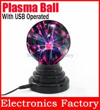 Magic Black Base Glass 3.5 Plasma LED Light Lamp Ball Sphere Desktop Lightning Party With USB Operated Plasma  (China (Mainland))