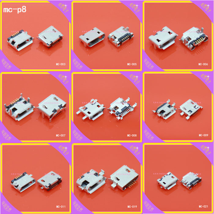 9Models,90pcs total Micro USB 5Pin jack tail sockect, Micro Usb Connector port sockect for samsung Lenovo Huawei ZTE HTC ect(China (Mainland))