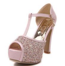 C1212 Big Discount Female Sexy Peep Toe Buckle Strap Summer Pumps Girls High Heel Glitter Shoes Women Wedding sandles Big size(China (Mainland))