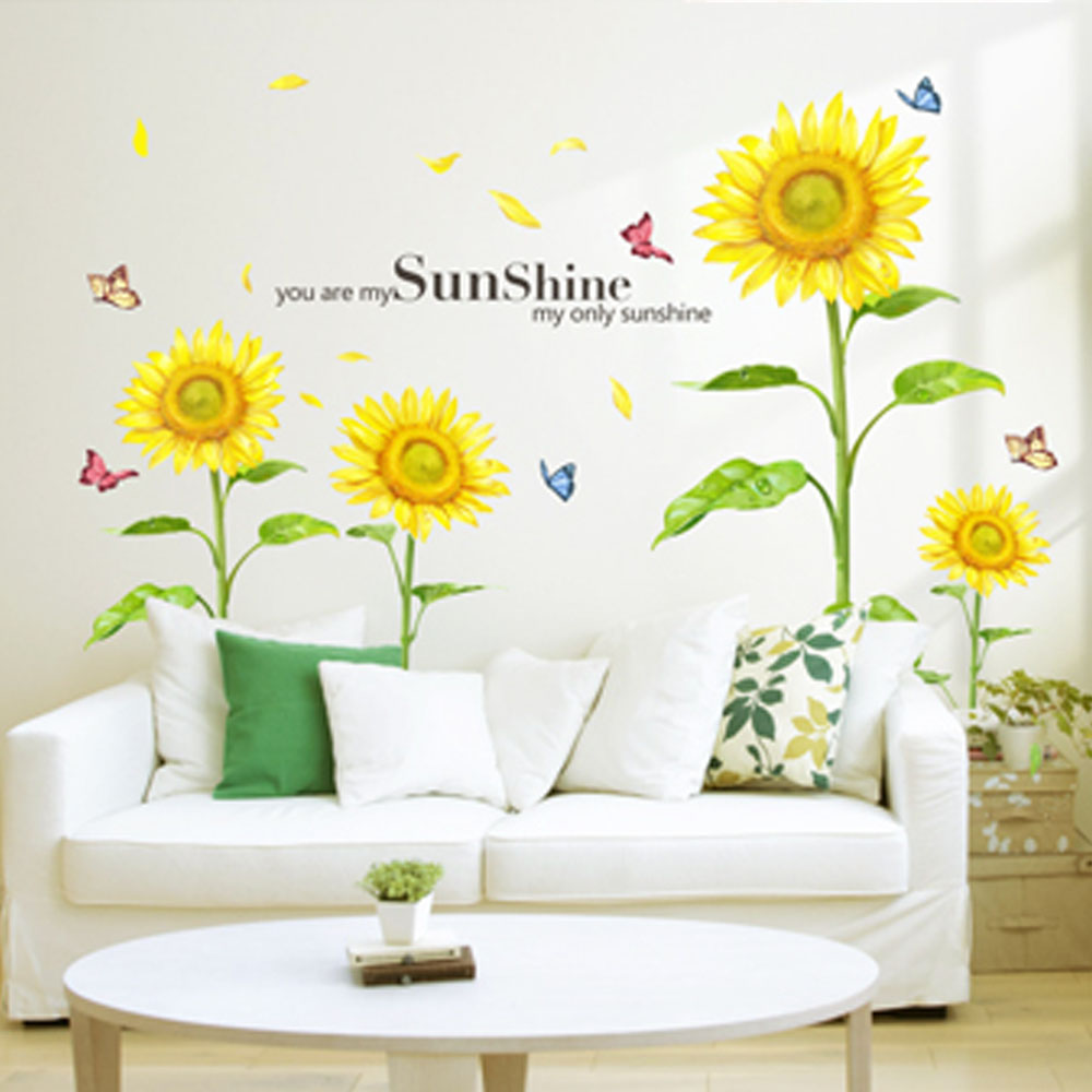 wholesale Sunshine Sunflower wall stickers living bedroom decorations diy flowers pvc home decals mural arts poster(China (Mainland))