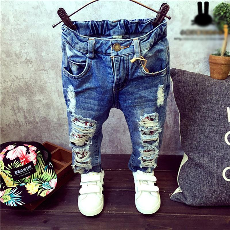 children broken hole pants trousers 2015 baby boys girls jeans brand fashion autumn 2 7yrs kids. Black Bedroom Furniture Sets. Home Design Ideas