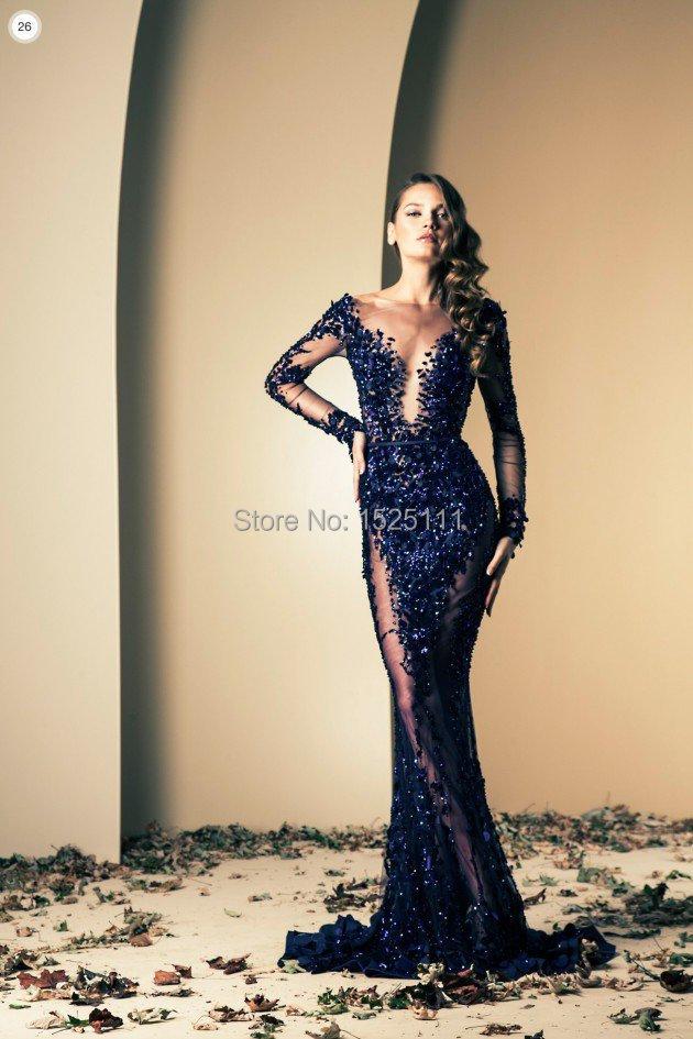 2015 Navy Blue Great Gatsby Dress Long Sleeved Mermaid ...