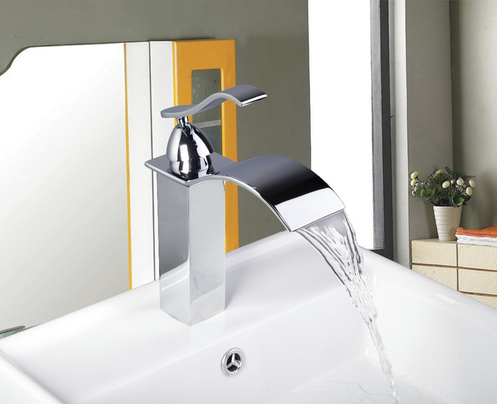 8256-1 Construction & Real Estate Square Chrome Finished Bathroom Basin Single Handle Sink Faucet Vessel Mixer Faucet(China (Mainland))