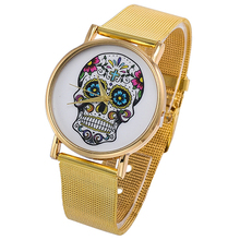 Womens Mens Punk Skull Printed Golden Mesh Alloy Band Analog Quartz Wrist Watch