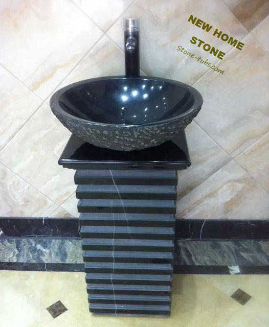 Black granite pedestal sink square twist teakwood marble for Best wash basin design