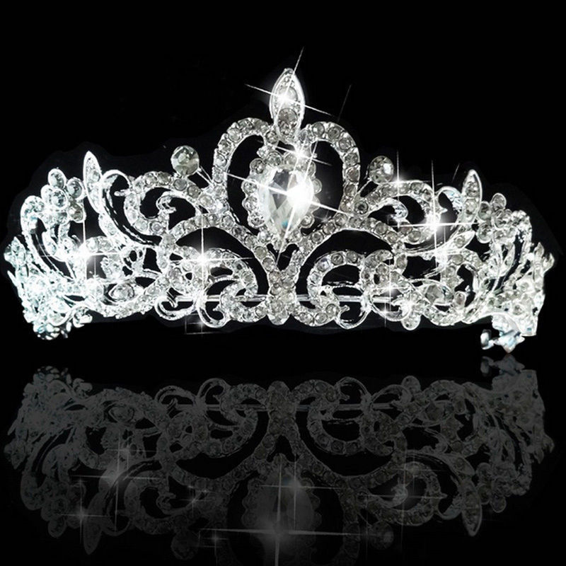 Wedding Bridal Princess Austrian Crystal Hair Accessory Tiara Crown Veil Silver Fashion(China (Mainland))