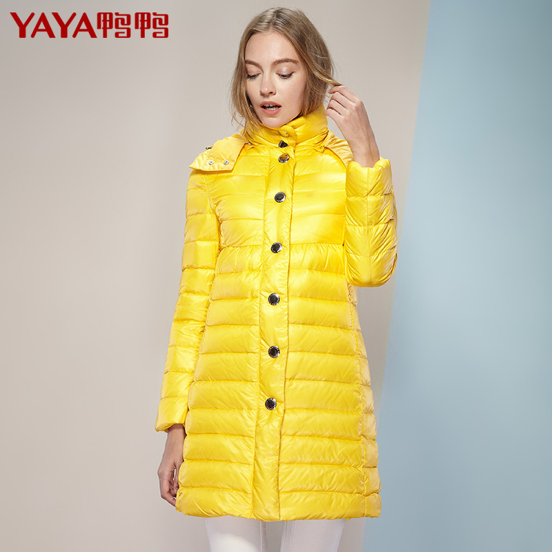 2015 autumn and winter with a hood thin thermal medium-long female down coat long-sleeve slim brief stand collar outerwear