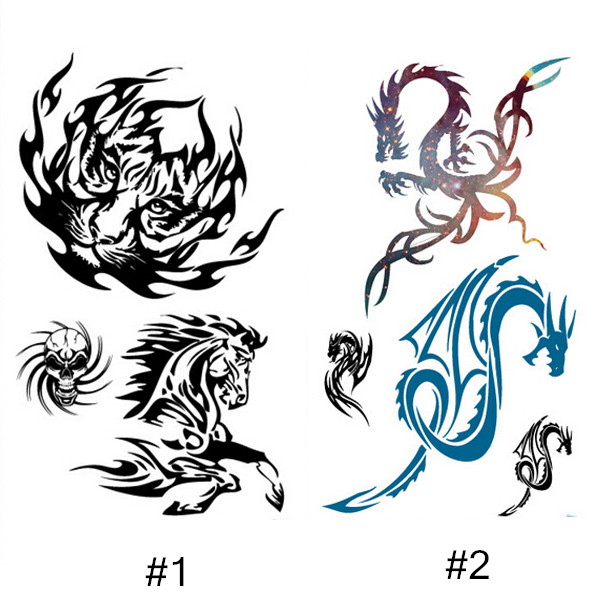 1 Sheet Dragon Tiger Horse Tattoo Decals Body Art Waterproof Paper Temporary Tattoo(China (Mainland))