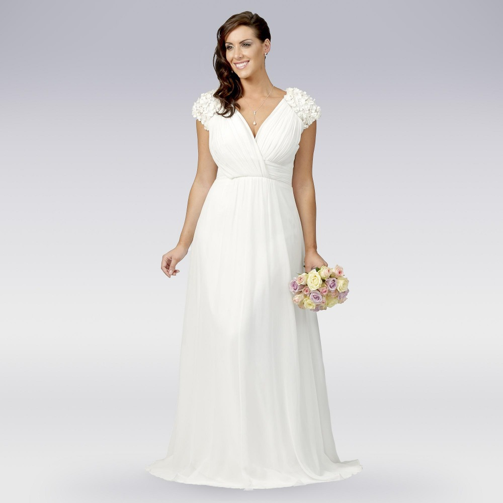 Plus Size Vestidos De Novia Vintage White Beach Wedding Dress 2015 With Cap S