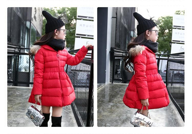 Скидки на M & F 2016 зимой толстые разделе длинный пуховик девушки плюшевые бархатные детская мода хлопка-проложенный куртка