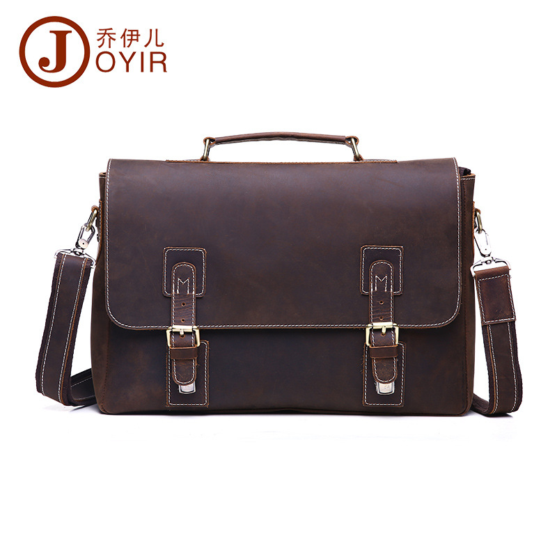 Vintage Men Leather Briefcase Handbags Business bag Crazy Horse Genuine Leather portfolio men briefcase male laptop bag office(China (Mainland))