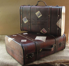 Урожай чемодан портативный деревянный чехол античная коробка деревянные окна украшения реквизит багажа travei мешок