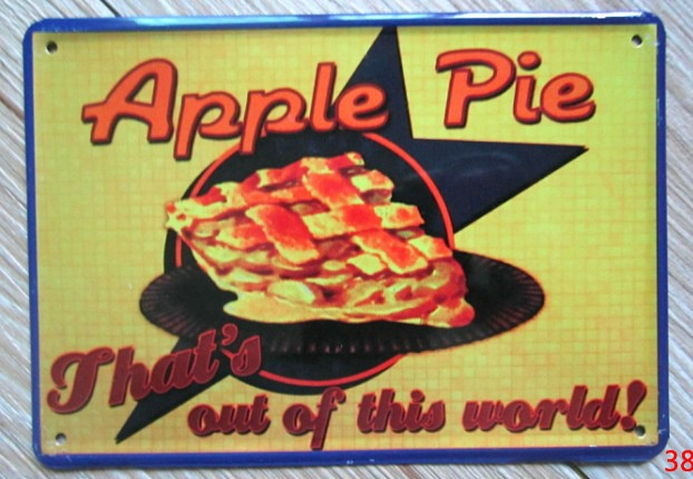 Apple Pie vintage plaque poster crafts Metal Tin signs Art wall decor House Cafe craft material GY-00993 10*15 CM Free shipping(China (Mainland))