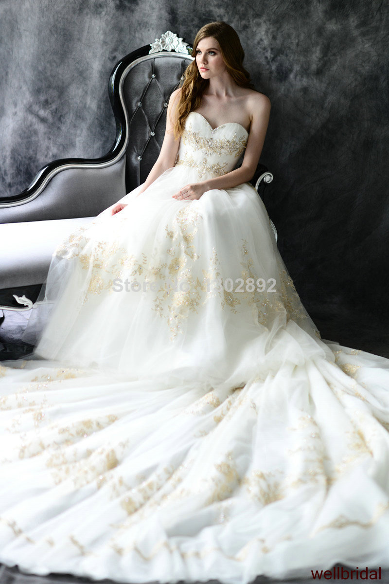2015 Custom Tulle Applique A-Line Wedding Dresses Royal Train Gown big Bow Bridal Dress - Catherine's store