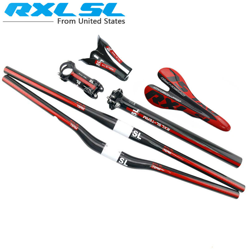 Carbon Handlebar mtb handle carbon bars Bike accessori set RXL SL Flat/Riser Handlebar+Seatpost+Stem+Saddle+Bottle Cage=1set(China (Mainland))
