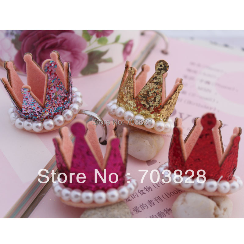 Free shipping Pearls decoration  Sequins crown Shape for hair clips DIY Pearls Crown for hair pins Childrens hair accessories<br><br>Aliexpress