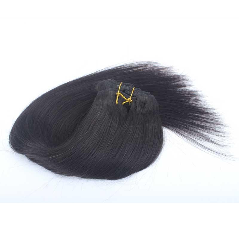 #1B Clips In Hair Extensions Straight Clip In Human Hair Virgin Peruvian 120G Clip In Human Hair Extensions