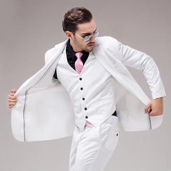 Красочные роскошный мужской белые костюмы куртка брюки вечернее платье мужчины комплект свадебные костюмы жениха смокинги ( куртка + брюки + жилет )