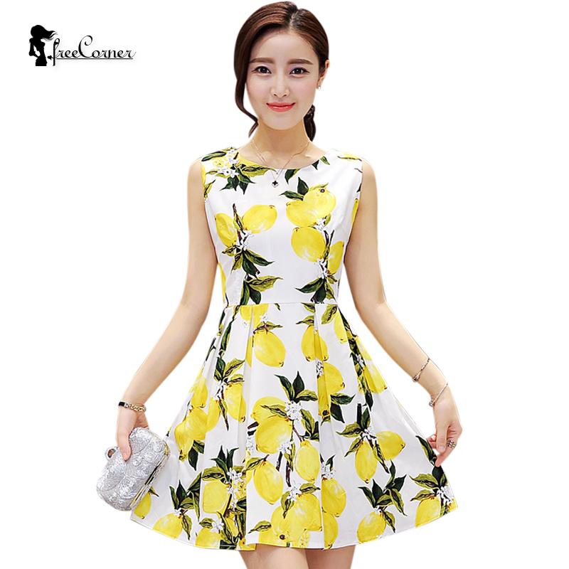 New Arrival 2016 Lemon Print Dress Ladies Run Way Dress Sleeveless Slim Dress Sundress Casual Cotton Vestidos Plus Size(China (Mainland))