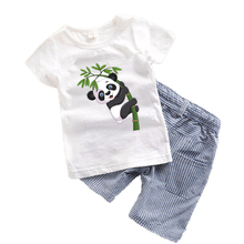 2017 мальчиков одежда Лето Малыш мальчик комплектов одежды Мультфильм Детская одежда Дети Костюм Панды Динозавра Мальчиков одежда T7(China (Mainland))