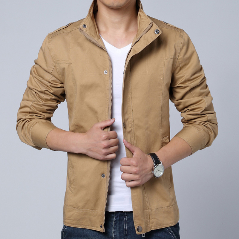 2016 Autumn And Spring Jacket Men Stand Collar Casual Woven Jacket Solid Color Casual Coat Men Outerwear Men jacket(China (Mainland))