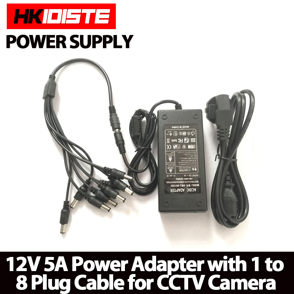 HKIXDISTE 12V 5A 8CH Power Supply CCTV Camera Power Box 8 Port DC+Pigtail COAT DC 12V Power Adapter(China (Mainland))