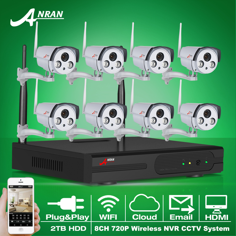 Plug And Play CCTV System 8CH Wireless NVR 2TB HDD P2P 720P HD 2 Array IR Outdoor Security IP Camera WIFI Surveillance System(China (Mainland))