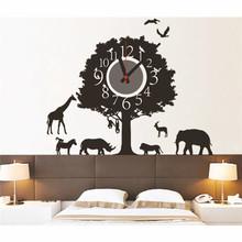 Modern Good Design DIY Wall Clock Forest Animal Paradise Sticker Home Office Room Decoration Kids(China (Mainland))