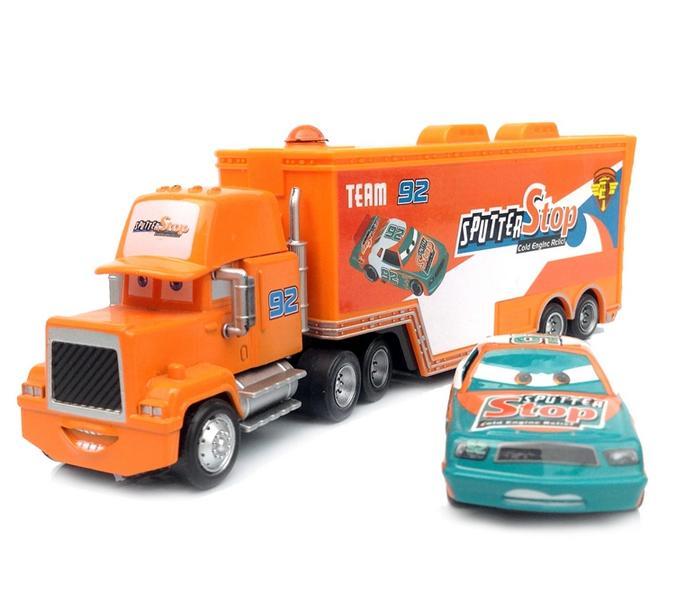2pcs Pixar Cars 2 SPUTTER STOP Race Car NO.92 & Hauler Truck Brand Diecast Models Kids Toys Car Toys For Children(China (Mainland))