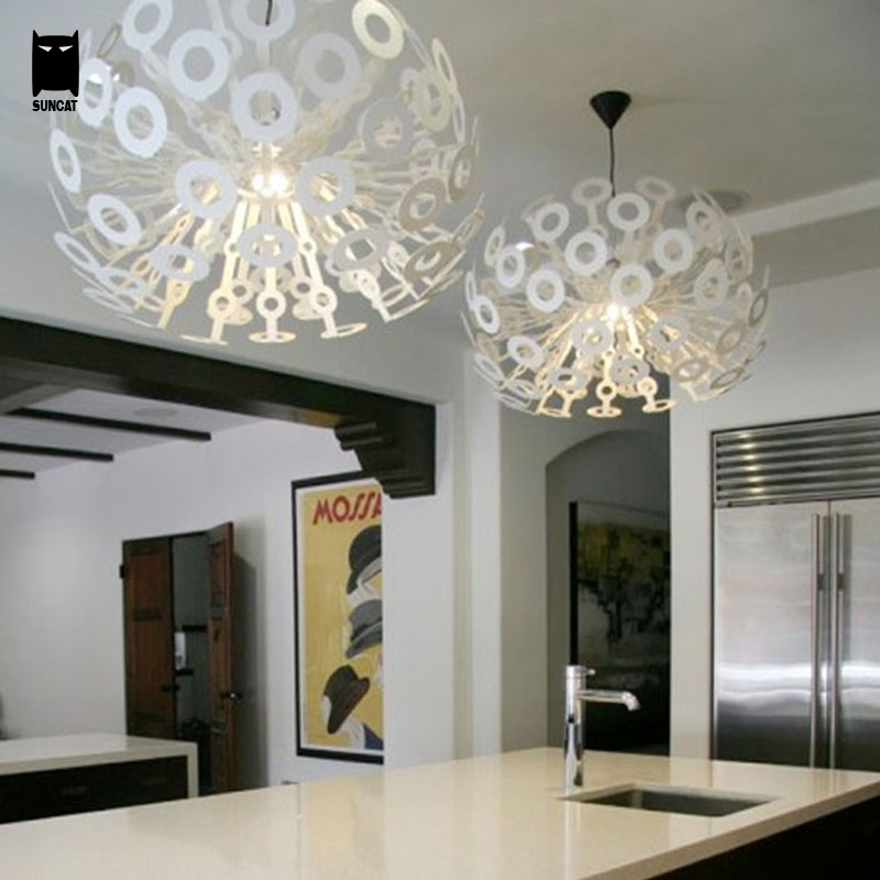 45/55cm White Silver Gold Round Ball Dandelion Pendant Light Fixture Cord Modern Style Suspended Lamp Luminaria for Indoor Foyer(China (Mainland))