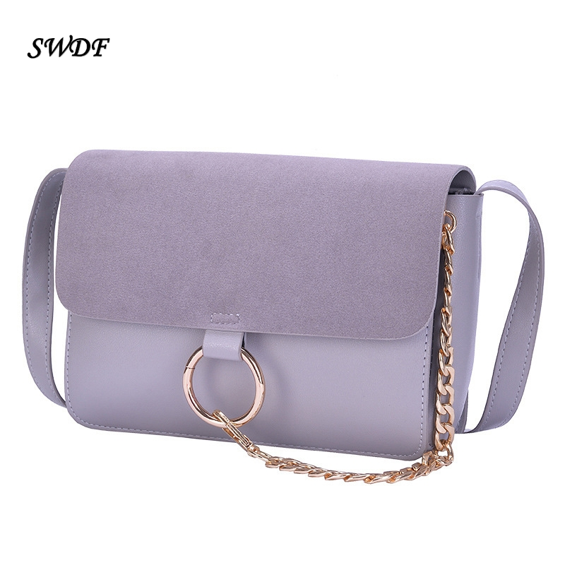2016 Summer Style Nubuck Genuine Leather Handbags Chain Ring Shoulder Crossbody Bags For Women Brand Messenger Bag Ladies Clutch(China (Mainland))