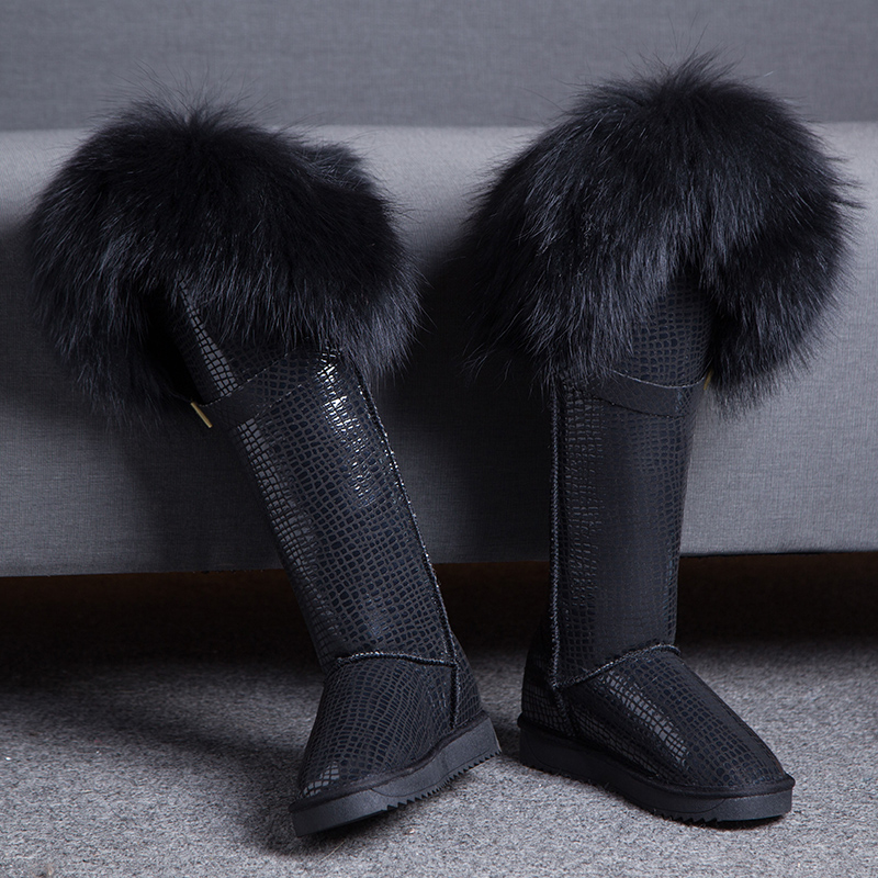 GQPy/Luxury Knee High Snow Boots Natural Black Fox Fur Long Boots Cow Genuine Leather Waterproof Thick Warm Women Winter Shoes