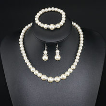 Newest threading pearls necklace elastic bracelet earrings in a three-piece suit bridal jewelry(China)