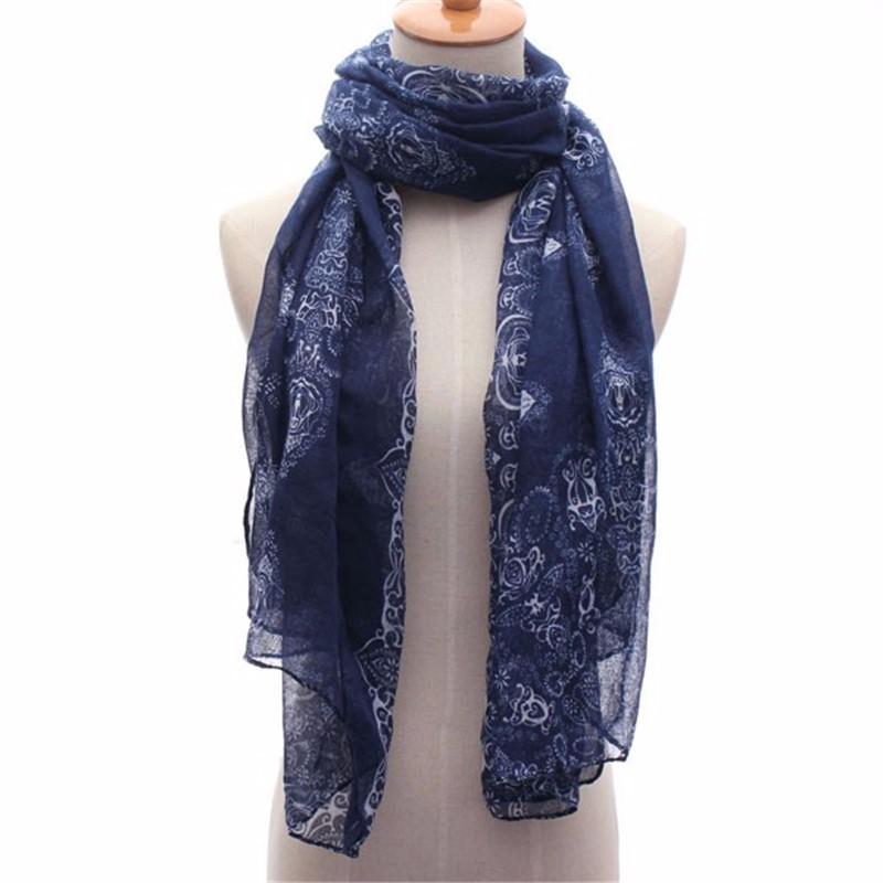 1pcs Retro Girls Women Pashmina Flower Shawl Scarf Soft Wrap Navy Long Neck Stole Office Dress Warm 160x70cm(China (Mainland))