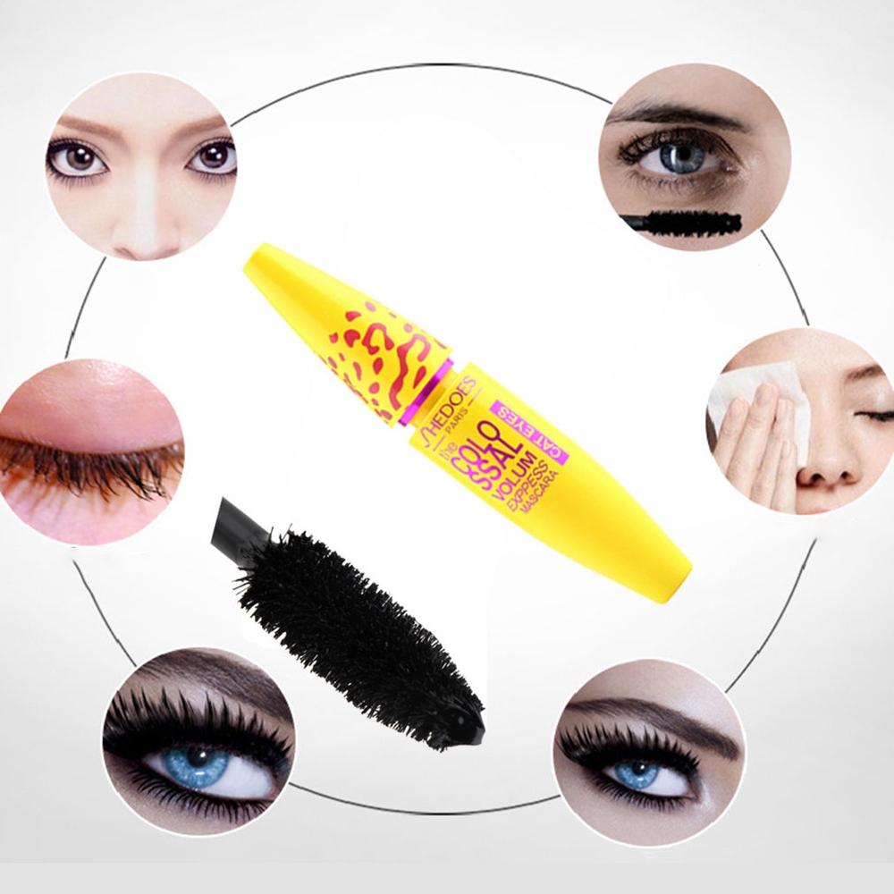 Mascara Olho Amarelo Mulheres livres de Óleo Ferramenta de Extensão Dos Cílios À Prova D' Água Presente Maquiagem Cosméticos Preto Leopard Moda Longo