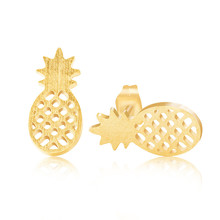 Boho Jewelry Stainless Steel Pendientes Mujer Real Gold Plated Bijoux Fruit Pineapple Statement Stud Earrings for Women 2016(China (Mainland))