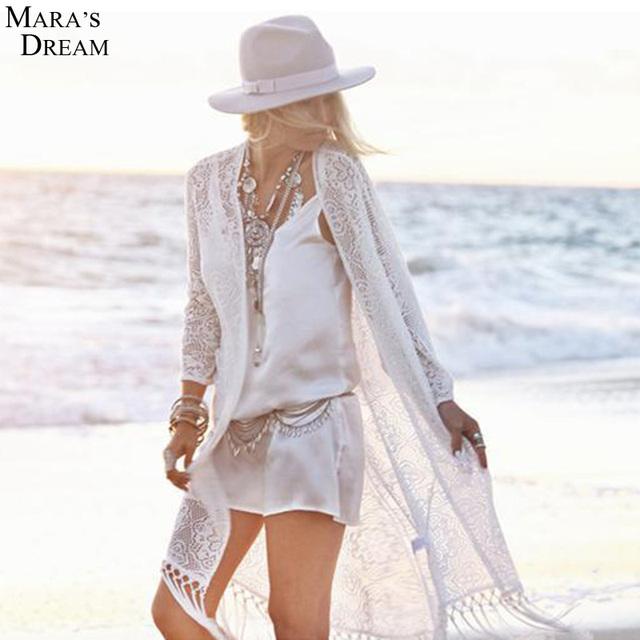 2016 Пляж Бикини Платье Cover Up Сексуальные Выдалбливают Короткие белое Кружево Платье Летний Пляж Платье Плюс Размер Чешский Новый Vestido