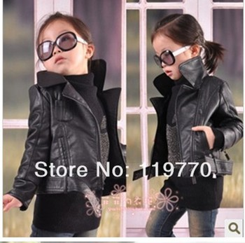Aimi  children's clothing male female child short design PU clothing child spring and autumn outerwear kids clothes 1 - 12
